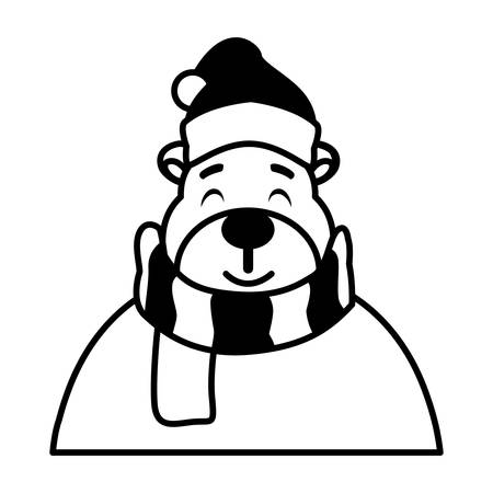 silhouette of polar bear with hat and scarf vector illustration design Иллюстрация