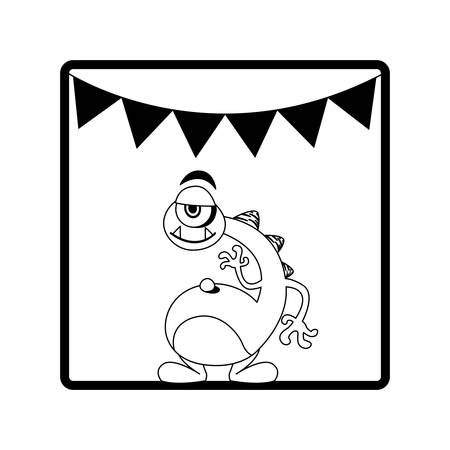 square frame of monster with neck long and party garlands vector illustration Illustration