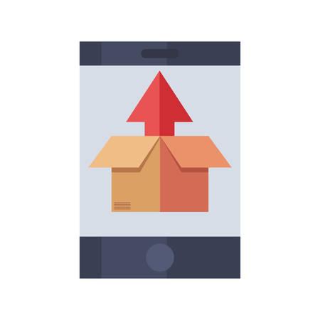 smartphone cardboard box fast delivery vector illustration