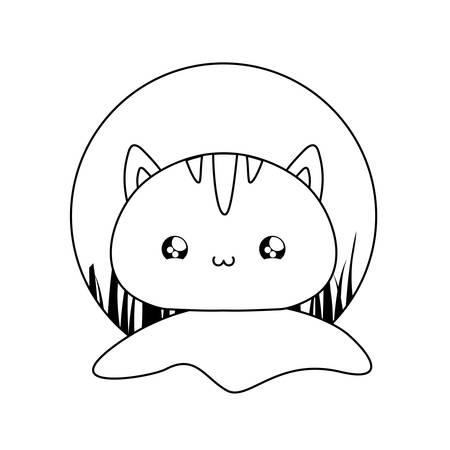 cute head of cat baby animal vector illustration design