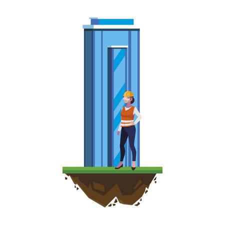 female builder construction with building vector illustration design Vettoriali