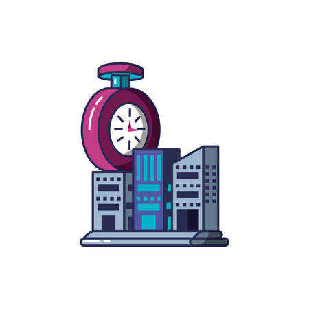 chronometer time with buildings facades vector illustration design