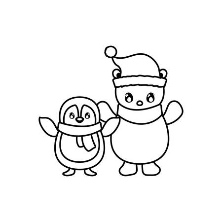 penguin and polar bear with scarf on white background vector illustration design