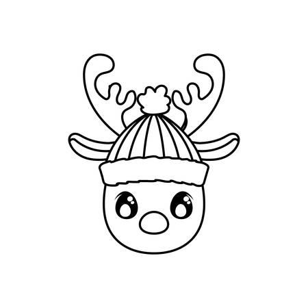head of reindeer with hat on white background vector illustration design Иллюстрация