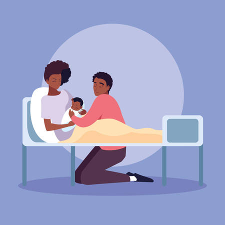 mother afro with newborn in stretcher and father observing vector illustration design