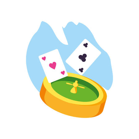casino roulette game with poker cards vector illustration design Vectores