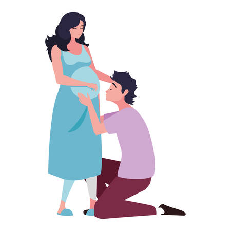 Pregnant woman and man design, Couple family love pregnancy maternity and expecting theme Vector illustration 写真素材 - 133747144