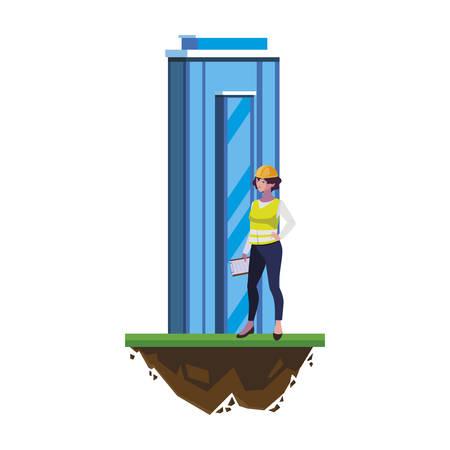 costruzione femminile del costruttore con progettazione dell'illustrazione di vettore della costruzione Vettoriali