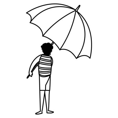 man holding a beach parasol over white background, vector illustration