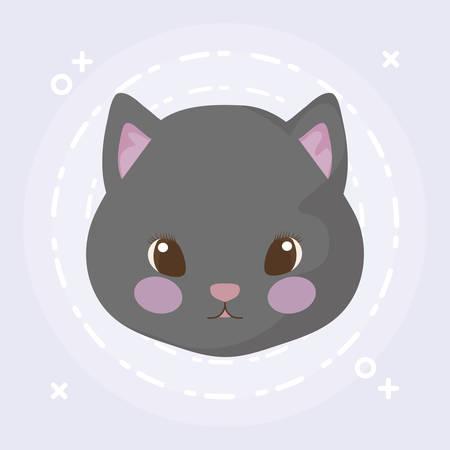 head of cute cat baby animal vector illustration design