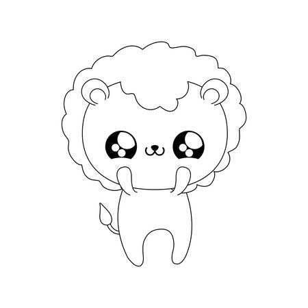 cute lion baby animal style vector illustration design