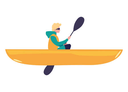 man with boat and adventure rowing vector illustration