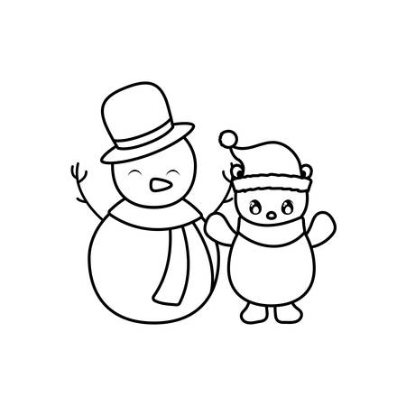 snowman and polar bear with hat and scarf on white background vector illustration design