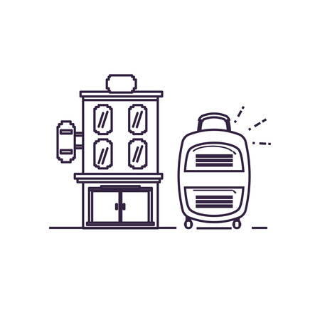 hotel building place with suitcase vector illustration design