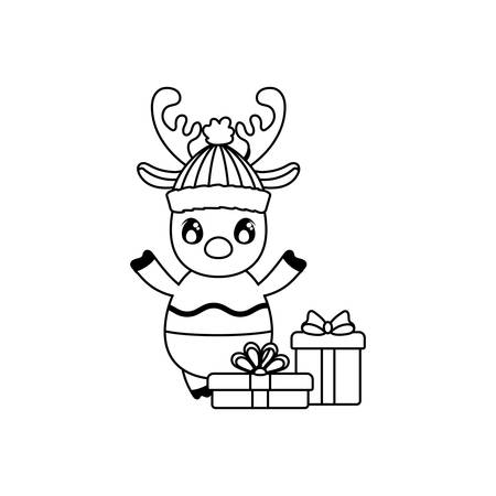 cute reindeer with gift boxes on white background vector illustration design