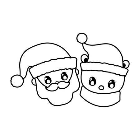 head of santa claus and polar bear on white background vector illustration design