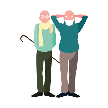 Grandfathers cartoons design, Old person grandparents man avatar senior and adult theme Vector illustration Çizim