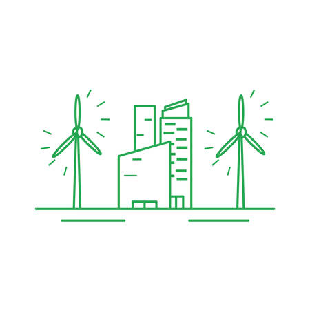 facade building friendly with windmills vector illustration design