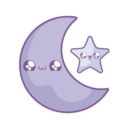 cute moon with star   style vector illustration design Ilustrace