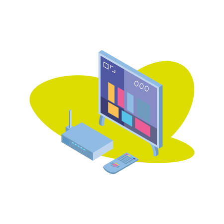 tv screen with remote control and wireless router vector illustration design Stok Fotoğraf - 133840573