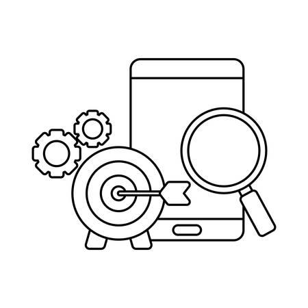 social media marketing with smartphone vector illustration design Фото со стока - 133848965