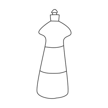 detergent bottle cleaning supply on white background vector illustration outline Stock Vector - 133849043