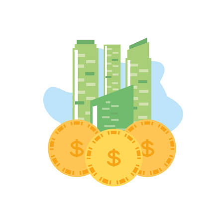 facade building friendly with money coins vector illustration design Ilustrace