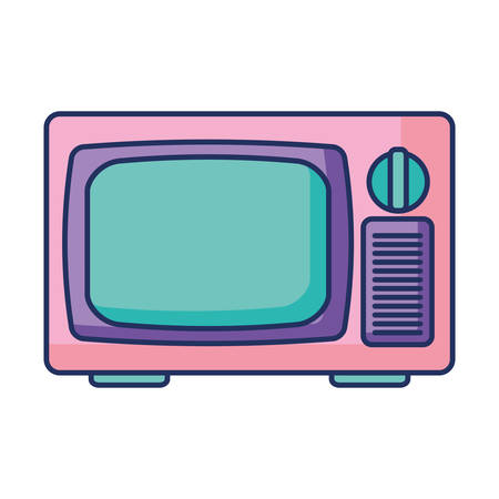 tv retro musical device with color pastel vector illustration design