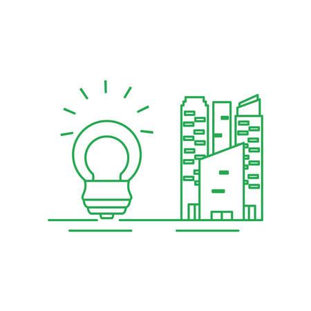 facade building friendly with saving bulb electric vector illustration design Illusztráció