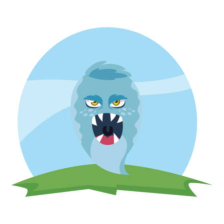 funny monster in the field comic character vector illustration design
