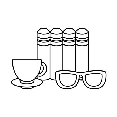 pile of textbooks with eyeglasses and cup coffee vector illustration design Ilustracja