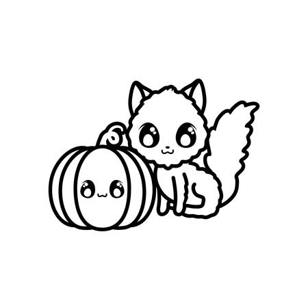 cute cat with pumpkin on white background vector illustration design Stock Vector - 133849347