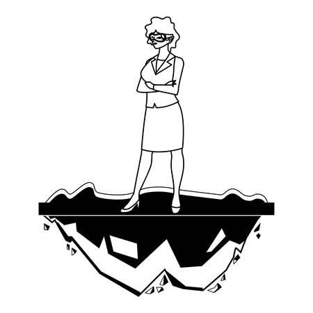 elegante Geschäftsfrau auf dem Rasencharaktervektor-Illustrationsdesign Vektorgrafik