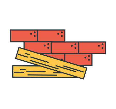Bricks and wood design, under construction work repair progress reconstruction industry and build theme Vector illustration