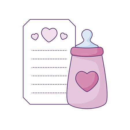 bottle milk in card with hearts decoration vector illustration design
