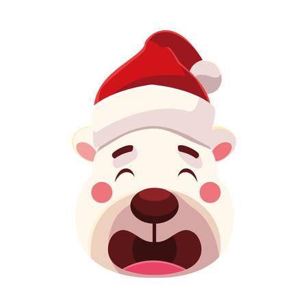 head of polar bear with hat vector illustration design