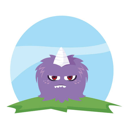 funny monster with horn in the field vector illustration design  イラスト・ベクター素材