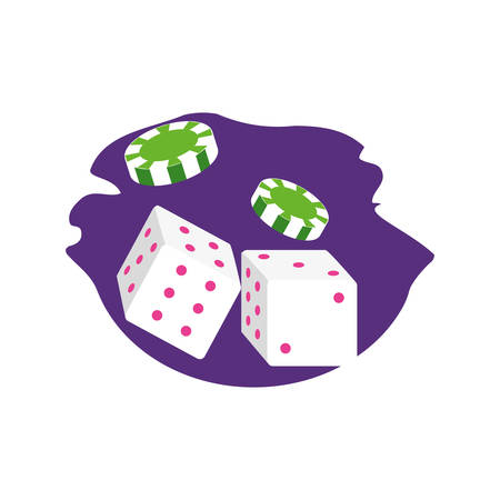 casino games chip with dice vector illustration design