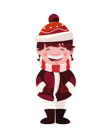 boy with hat and scarf vector illustration design