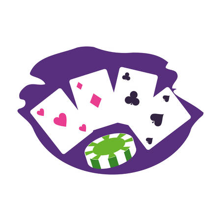 casino games chips with poker cards vector illustration design