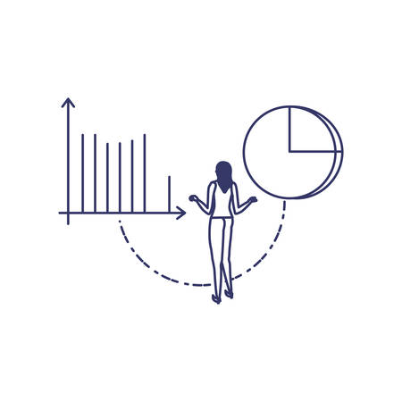 silhouette of woman with statistic bars in white background vector illustration design