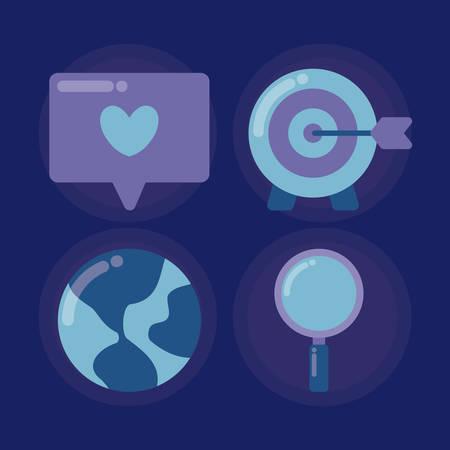 set icons of social media vector illustration design Banque d'images - 133849984
