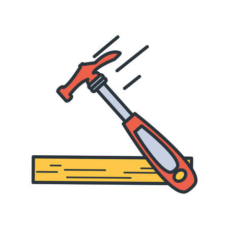 Wood and tool design, under construction work repair progress reconstruction industry and build theme Vector illustration Ilustrace