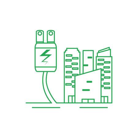 facade buildings urban with energy plug vector illustration design Illusztráció