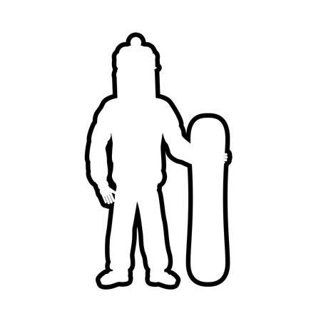 silhouette snowboard athlete icon vector illustration design