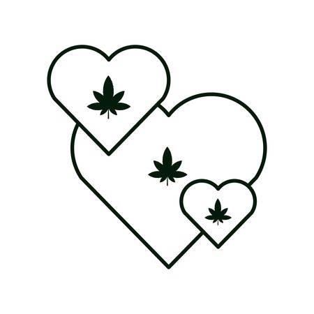 heart with cannabis leaf icon vector illustration design