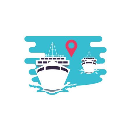 ship cruise boats with pin location vector illustration design Illusztráció