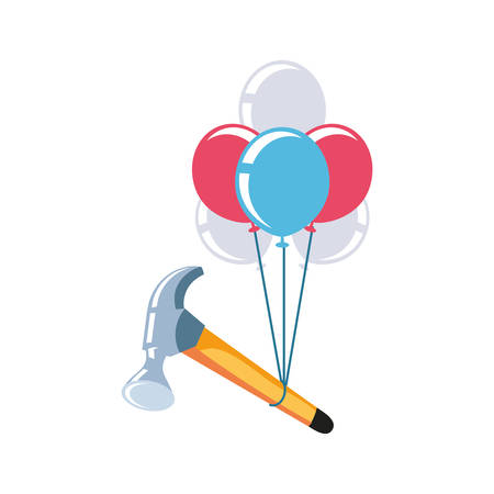 hammer with balloons helium air vector illustration design