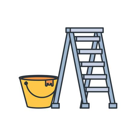 Bucket tool design, under construction work repair progress reconstruction industry and build theme Vector illustration