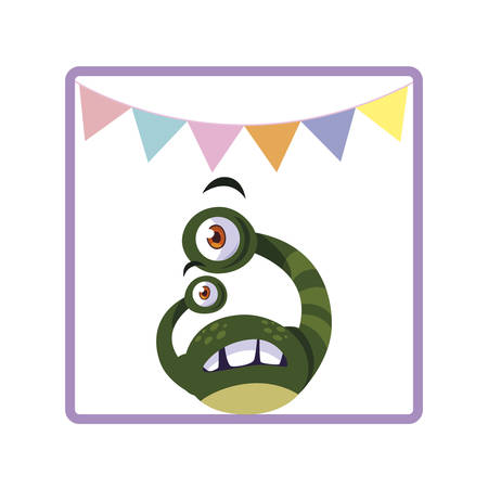 square frame of monster with bulging eyes and garlands party vector illustration Illustration